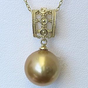 ネックレスペンダント 南洋真珠パール K18ゴールドネックレス ダイヤモンド