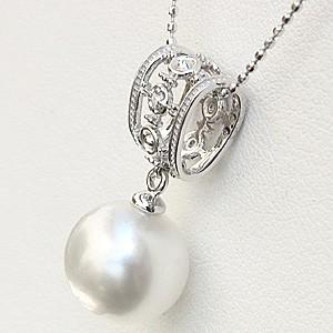 ペンダント 真珠 パール 南洋白蝶真珠 K18WG ホワイトゴールド 真珠の径10mm ホワイトピンク系 ダイヤモンド 1石 計0.01ct ペンダントトップ