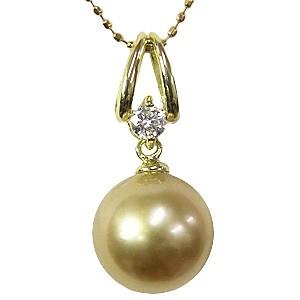 真珠 パール  ネックレス ペンダント 南洋白蝶真珠 ゴールド系 直径 10mm K18 ゴールド ダイヤモンド 1石 0710ct 6月誕生石
