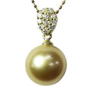 ネックレス ペンダント 真珠 パール  南洋白蝶真珠 ゴールド系 直径 10mm K18 ゴールド ダイヤモンド 11石 0.13ct 6月誕生石
