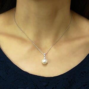 ネックレス 南洋真珠パール ホワイトゴールド ペンダント ダイヤモンド ジュエリー