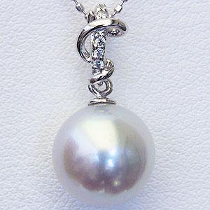真珠:パール:南洋白蝶真珠:10mm:ピンクホワイト系:ペンダントトップ:プラチナ:PT900:ダイヤモンド:0.03ct