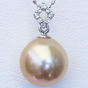 真珠:パール:南洋白蝶真珠:10mm:ゴールド系:ゴールデンパール:ペンダントトップ:ホワイトゴールド:ダイヤモンド:0.04ct