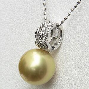 ネックレス 南洋真珠パール ホワイトゴールド ネックレス ダイヤモンド ペンダント