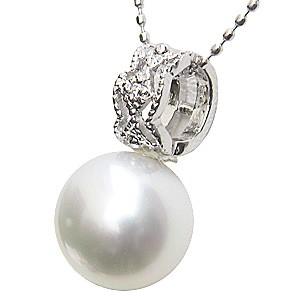 ネックレス ペンダント 真珠 パール 南洋白蝶真珠 PT900 プラチナ 真珠の径10mm ホワイトピンク系 ダイヤモンド 1石 計0.01ct ペンダントトップ