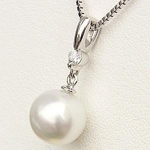 ペンダント 真珠 パール 南洋白蝶真珠 PT900 プラチナ 真珠の径10mm ホワイトピンク系 ダイヤモンド 1石 計0.10ct ペンダントトップ