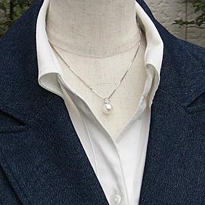 真珠 パール ペンダントトップ 南洋白蝶真珠 K18WG ホワイトゴールド 真珠の径10mm ホワイトピンク系 ダイヤモンド 8石 0.05ct  ペンダント
