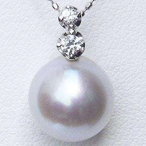 真珠:パール:南洋白蝶真珠:10mm:ピンクホワイト系:ペンダントトップ:K18WG:ホワイトゴールド:ダイヤモンド:0.08ct