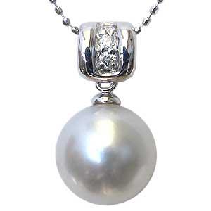 ペンダント 真珠 パール 南洋白蝶真珠 K18WG ホワイトゴールド 真珠 ピンクホワイト系 径10mm ダイヤモンド 3石 計0.20ct ペンダントトップ