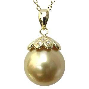 真珠 パール ペンダント 南洋白蝶真珠 K18 ゴールド 真珠径11mm ゴールド系 ダイヤモンド 3石 計0.02ct ペンダントトップ