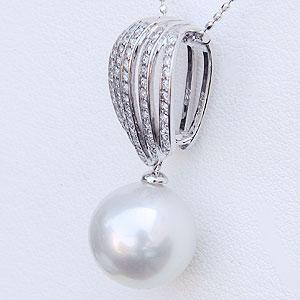 真珠 パール ペンダント 南洋白蝶真珠 K18WG ホワイトゴールド 真珠の径11mmピンクホワイト系  ダイヤモンド 59石 計0.29ct ペンダント