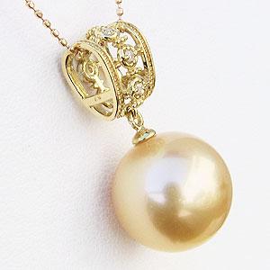 パール 南洋白蝶真珠 ペンダントトップ ゴールデンパール K18 ゴールド ダイヤモンド