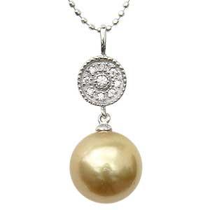 ネックレスペンダント 南洋真珠パール ホワイトゴールド ネックレス ダイヤモンド