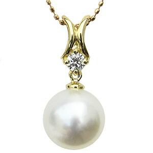 ネックレス 南洋真珠パール K18 ゴールド ペンダント ダイヤモンド ジュエリー