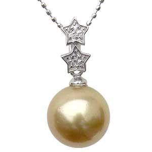 ネックレスペンダント 南洋真珠パール ホワイトゴールド ネックレス 星 ダイヤモンド ジュエリー