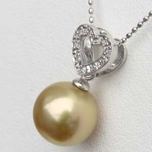ネックレスペンダント 南洋真珠パール PT900 プラチナ ネックレス ハート ダイヤモンド ジュエリー