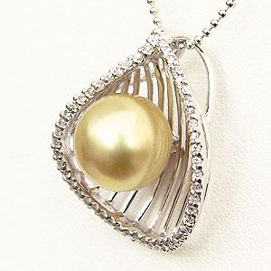 ゴールデンパール ペンダントトップ 南洋真珠 K18WG ホワイトゴールド ペンダントネックレス ダイヤモンド