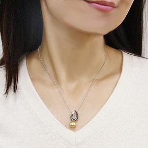 ゴールデンパール ペンダントトップ 南洋白蝶真珠 10mm ブラックシェル 黒蝶貝 K18 ホワイトゴールド