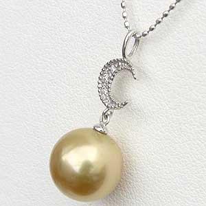 ペンダントネックレス 南洋真珠 ゴールドパール ホワイトゴールド 月 ムーン ダイヤモンド ジュエリー