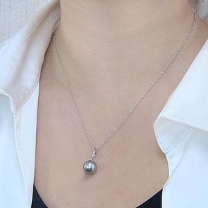 真珠:パール:ペンダントトップ:タヒチ黒蝶真珠:10mm:ダイヤモンド:0.03ct:ホワイトゴールド:K18WG:黒真珠:ブラックパール