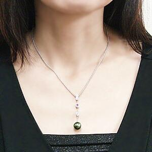 ペンダントネックレス タヒチ黒蝶真珠 K18WG ホワイトゴールド ダイヤモンド 0.33ct ブラックパール ピンクサファイア 9月誕生石