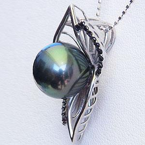 黒真珠:ブラックパール:タヒチ黒蝶真珠:11mm:グリーン系:ペンダントトップ:ホワイトゴールド:ブラックダイヤモンド:0.15ct