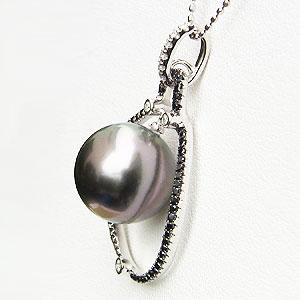 真珠:ブラックパール:ペンダントトップ:タヒチ黒蝶真珠:12mm:黒真珠:パール:ホワイトゴールド:ブラックダイヤモンド