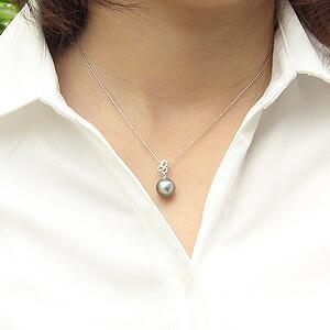 真珠:ペンダントトップ:パール:タヒチ黒蝶真珠:ライトグリーン系:10mm:タヒチ:ダイヤモンド:0.03ct:K18WG:ホワイトゴールド
