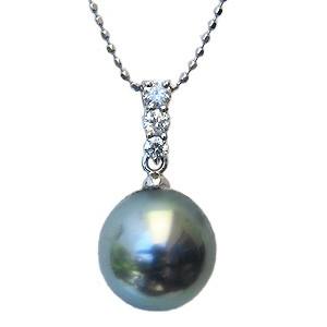 真珠:ペンダントトップ:パール:タヒチ黒蝶真珠:ライトグリーン系:10mm:タヒチ:ダイヤモンド:0.14ct:K18WG:ホワイトゴールド