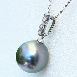 真珠:ペンダントトップ:パール:タヒチ黒蝶真珠:ライトグリーン系:10mm:タヒチ:ダイヤモンド:0.02ct:K18WG:ホワイトゴールド