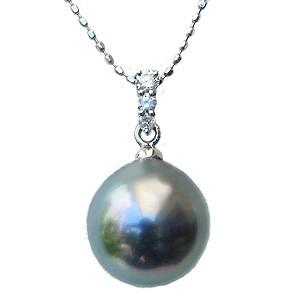 真珠 パール ペンダントトップ タヒチ黒蝶真珠 直径10mm ライトグリーン系 ダイヤモンド PT900 プラチナ 6月誕生石