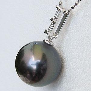 黒真珠:パール:ペンダントトップ:真珠:ブラックパール:タヒチ黒蝶真珠:グリーン系:10mm:ダイヤモンド:0.08ct:K18WG:ホワイトゴールド