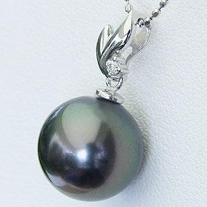 真珠 パール 6月誕生石 ペンダント タヒチ黒蝶真珠 PT900 プラチナ 真珠の直径10mm グリーン系 ダイヤモンド 1石 0.01ct ペンダントトップ