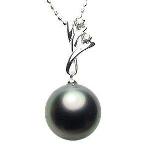 黒真珠:ペンダントトップ:真珠:ブラックパール:タヒチ黒蝶真珠:グリーン系:10mm:ダイヤモンド:0.02ct:K18WG:ホワイトゴールド
