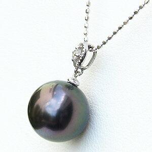 真珠:ペンダントトップ:パール:タヒチ黒蝶真珠:グリーン系:10mm:ダイヤモンド:0.03ct:K18WG:ホワイトゴールド