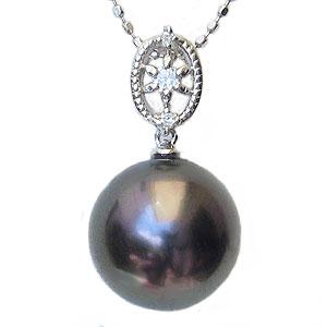 真珠:ペンダントトップ:パール:タヒチ黒蝶真珠:グリーン系:10mm:ダイヤモンド:0.05ct:K18WG:ホワイトゴールド