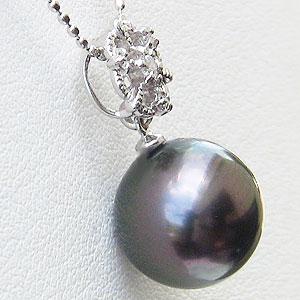 真珠:ペンダントトップ:パール:タヒチ黒蝶真珠:グリーン系:10mm:ダイヤモンド:0.06ct:K18WG:ホワイトゴールド