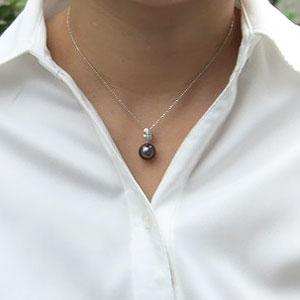 真珠:ペンダントトップ:パール:タヒチ黒蝶真珠:グレー系:10mm:ダイヤモンド:0.01ct:K18WG:ホワイトゴールド