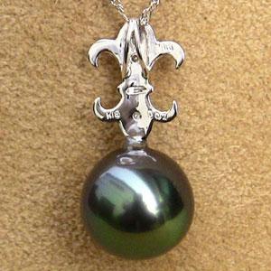 タヒチ黒蝶真珠:ペンダント:10mm:グリーン系