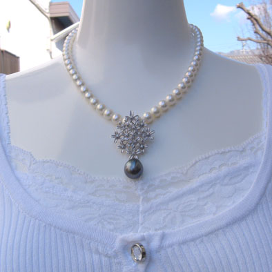 タヒチ黒蝶真珠:ペンダント:ダイヤモンド:パール:12mm