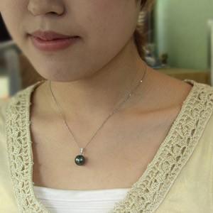 タヒチ黒蝶真珠:ペンダントトップ:ダイヤモンド:パール
