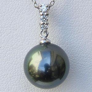 真珠:パール:ペンダントトップ:タヒチ黒蝶真珠:11mm:ダイヤモンド:0.10ct:ホワイトゴールド:K18WG:黒真珠:ブラックパール