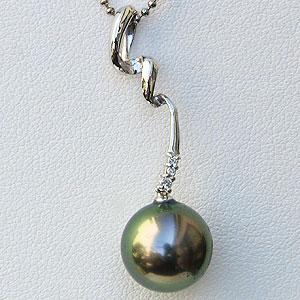 真珠:パール:ペンダントトップ:タヒチ黒蝶真珠:10mm:ホワイトゴールド:K18WG:ダイヤモンド:黒真珠:ブラックパール
