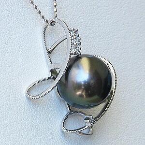 真珠:パール:ペンダントトップ:黒真珠:タヒチ黒蝶真珠:ブラックパール:ホワイトゴールド:K18WG:18金:ダイヤモンド:0.04ct
