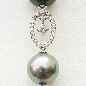 限定1点 ネックレスペンダント タヒチ黒蝶真珠 K18WG ホワイトゴールド ダイヤモンド ブラックパール