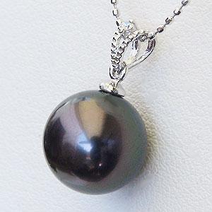 真珠 パール ブラックパール ペンダント タヒチ黒蝶真珠 PT900 プラチナ グリーン系 真珠の径10mm ダイヤモンド 0.01ct ペンダントトップ