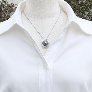 真珠 ブラックパール ペンダントトップ タヒチ黒蝶真珠 K18WG ホワイトゴールド 真珠の直径11mm グリーン系 ダイヤモンド 6石 計0.06ct ペンダントトップ