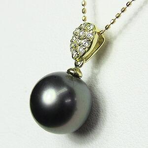 ネックレス 黒真珠パール K18 ゴールド ネックレス ダイヤモンド ペンダントジュエリー
