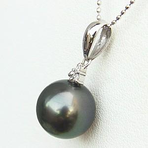 ネックレスペンダント 黒真珠パール K18WGホワイトゴールド ネックレス ダイヤモンド ジュエリー