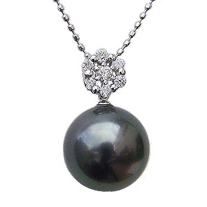 ブラックパール ペンダントネックレス タヒチ黒蝶真珠 10mm パール K18 ホワイトゴールド ダイヤモンド 0.12ct チェーン付き